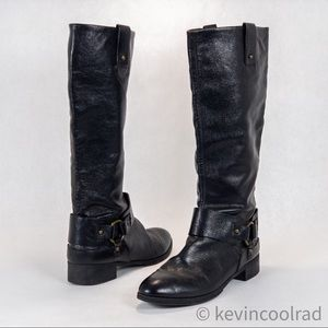 Nine West Vaval Caria Moto Harness Leather Boot